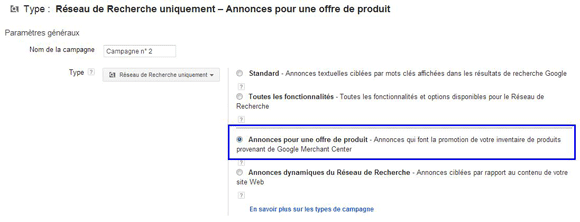 google adwords pour offre de produit google shopping